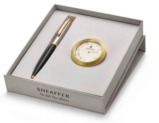 9475 Ballpoint Pen With Gold Chrome Table Clock